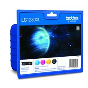 BROTHER LC-1280XLVALBP - Pack x 4 Encres - Noir/Cyan/Magenta/Jaune - 1200 pages