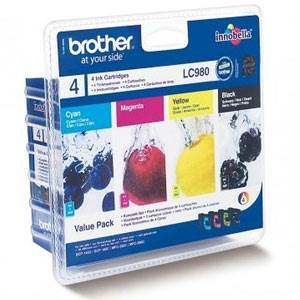 BROTHER LC-980VALBP - Pack x 4 Encres - Noir/Cyan/Magenta/Jaune - 300/260 pages