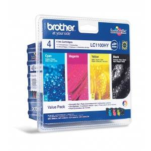 BROTHER LC-1100HYVALBP - Pack x 4 Encres - Noir/Cyan/Magenta/Jaune - 750/900 pages